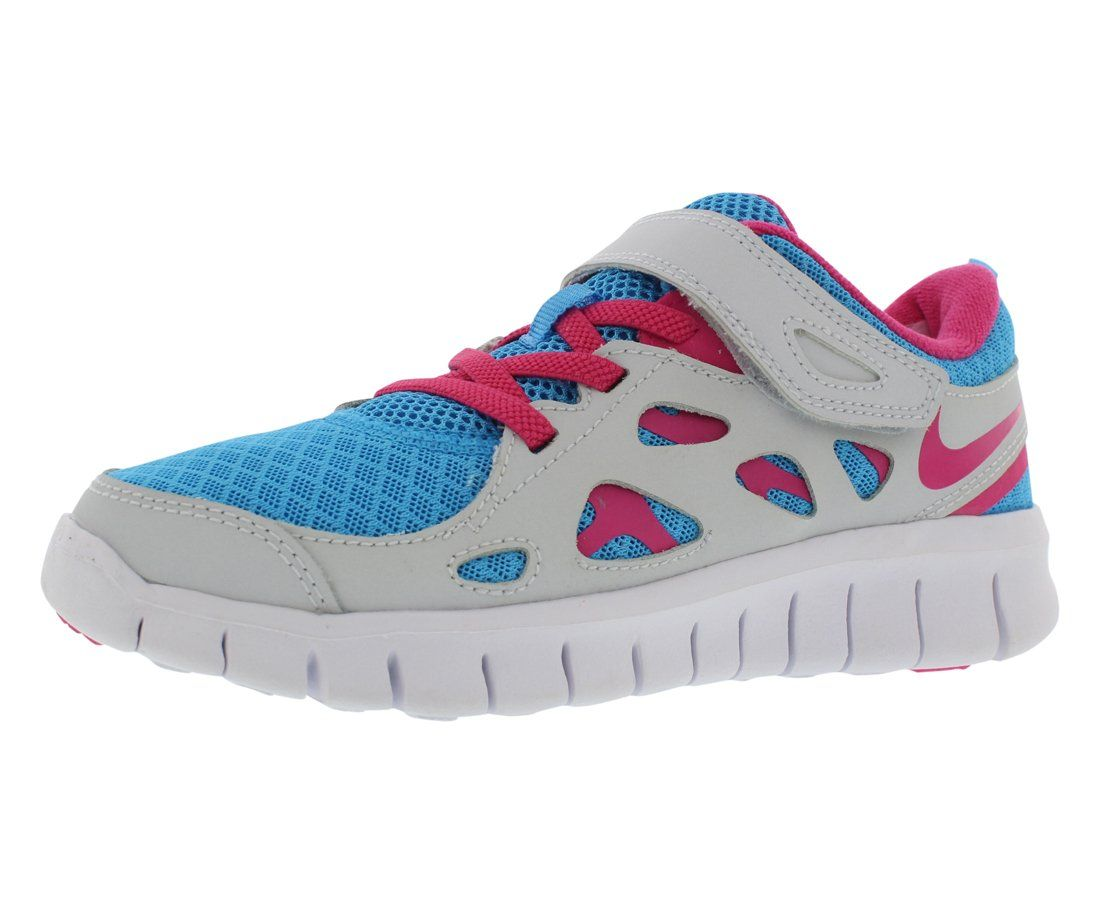 Nike Free 2.0 Preschool Girls Running Shoes Size US 11, Regular Width,  Color BluePinkGrey. Synthetic upper. Textile lining.