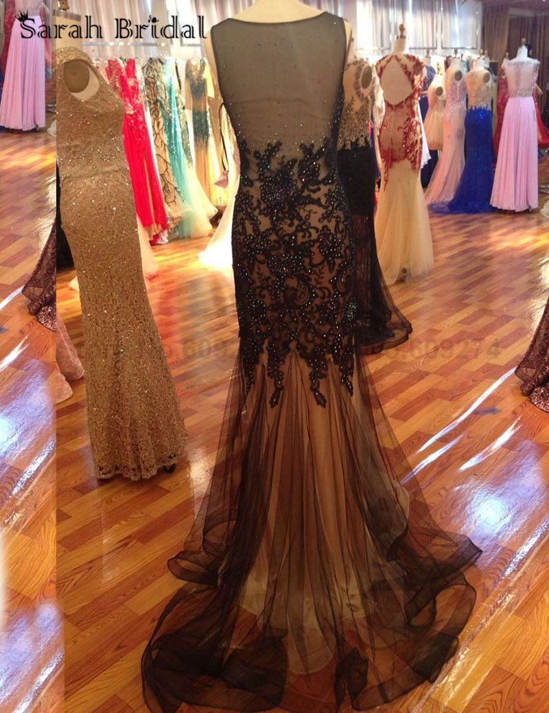 Vestidos saudi arabia black lace applique prom dresses mermaid