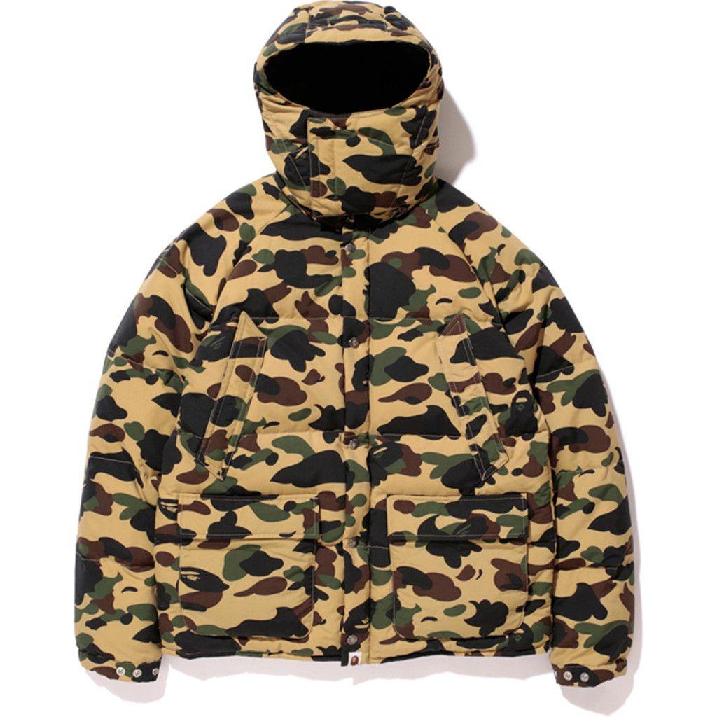 968b05fd Bape, 1ST CAMO MOUNTAIN HOODIE DOWN JACKET (Yellow) | Streetwear and ...