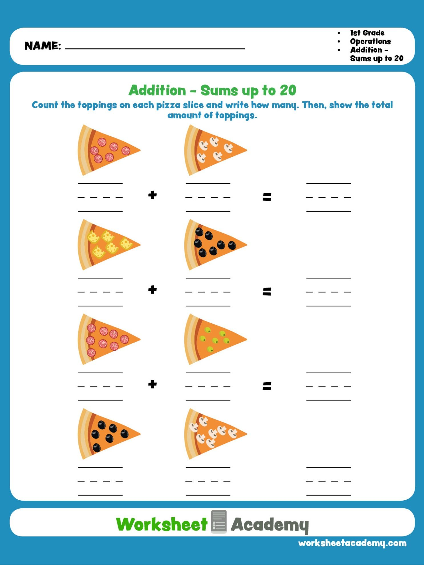 Addition Sums Up To 20 First Grade Math Worksheets Educational Worksheets Worksheets [ 1982 x 1487 Pixel ]