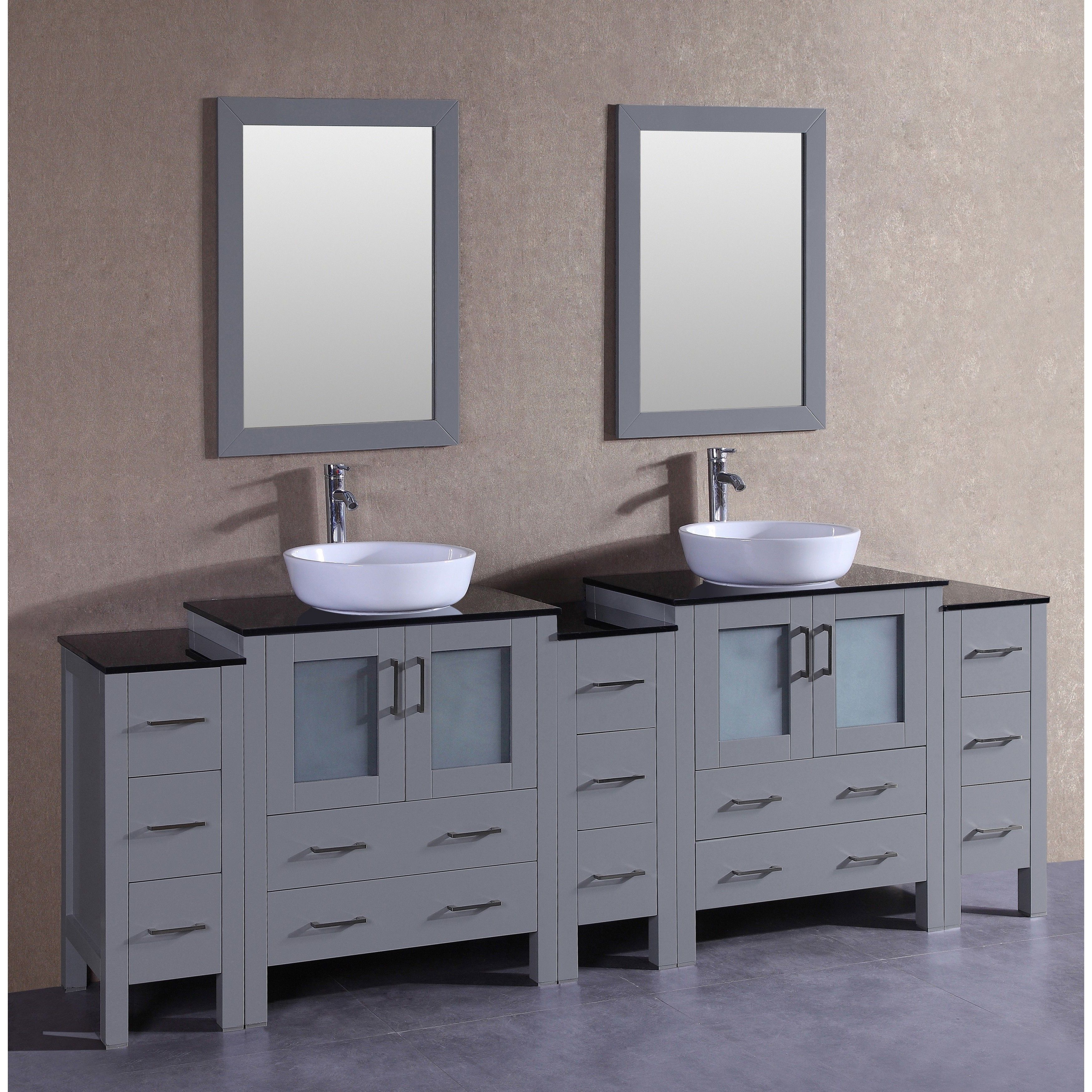 Bosconi 96 Inch Grey Double Vanity Set With Black Tempered Glass