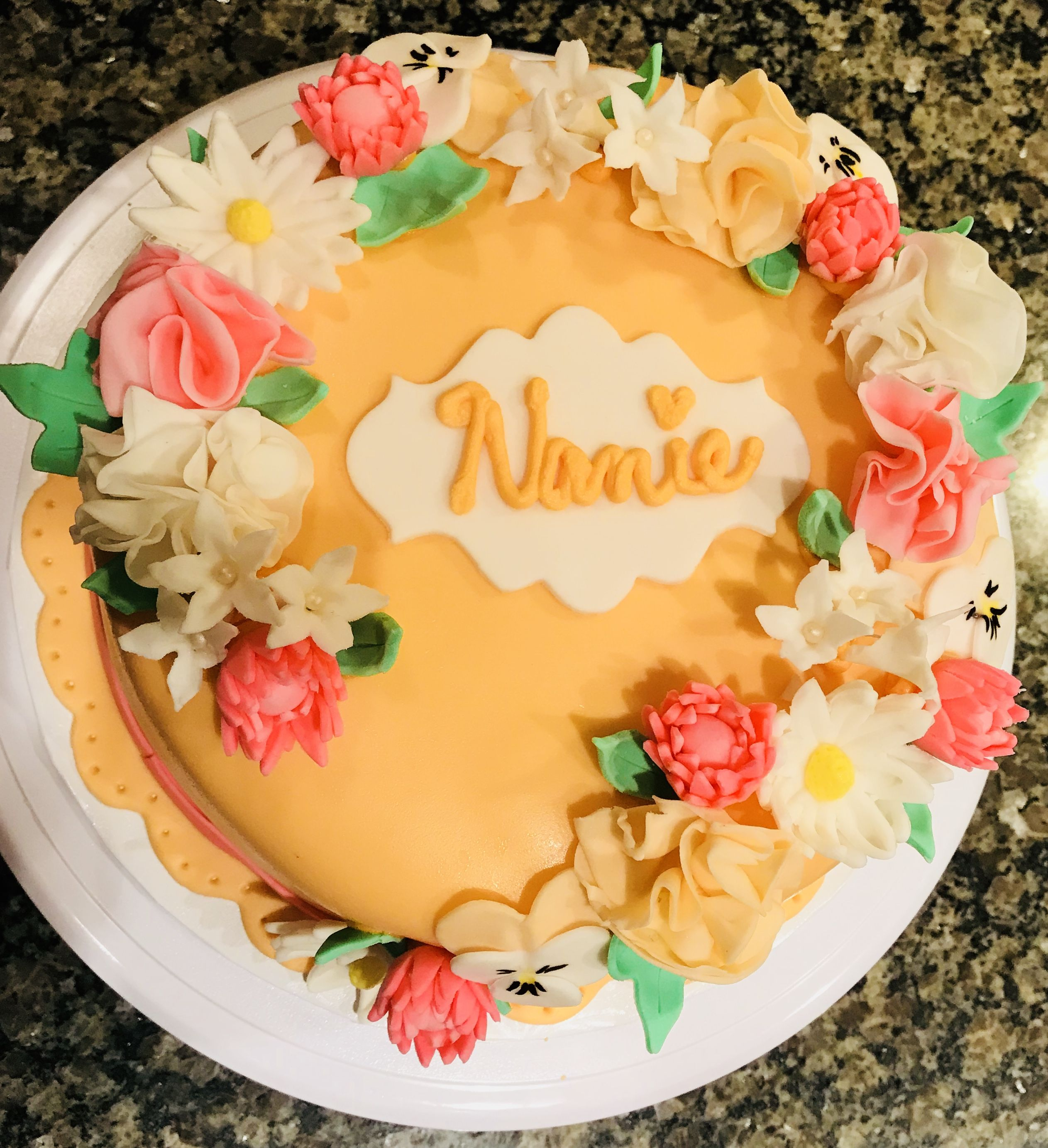 Outstanding Garden Flower Birthday Cake For Nanie Daisies Peonies Funny Birthday Cards Online Alyptdamsfinfo