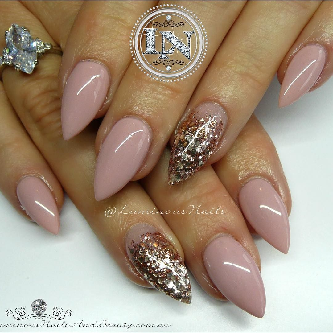 Nude Pink & Rose Gold Acrylic Overlay with @youngnailsinc Mani Q ...