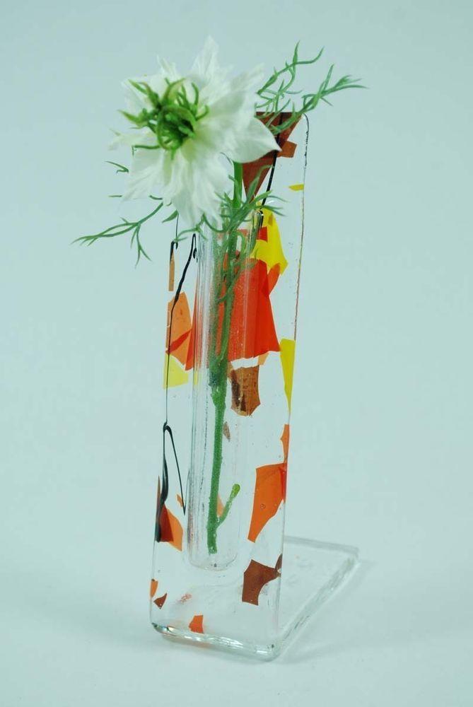 Fused Glass Flower Vase Table Top Pocket 3 Designs New Images For