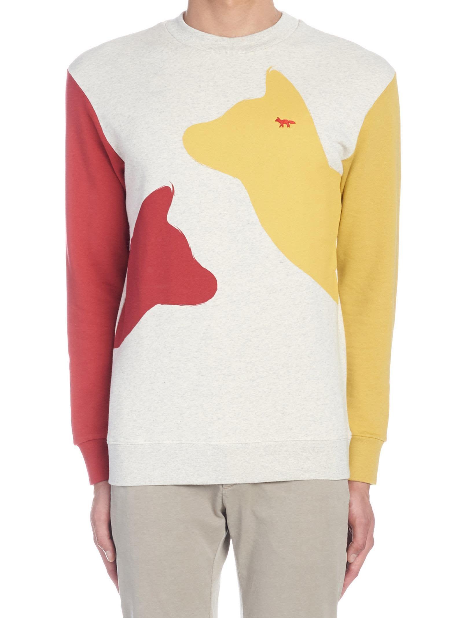 Maison Kitsune Meeting Foxes Sweatshirt In Multicolor Modesens [ 2136 x 1600 Pixel ]