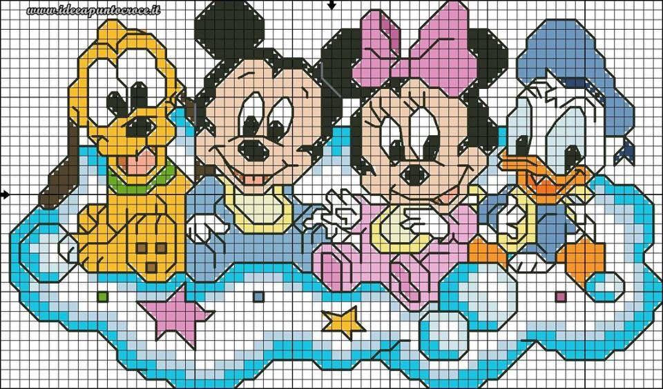 Grille b b plut t mickey minnie et donald graft 39 s cross stitch baby baby disney et cross - Mickey et plutot ...
