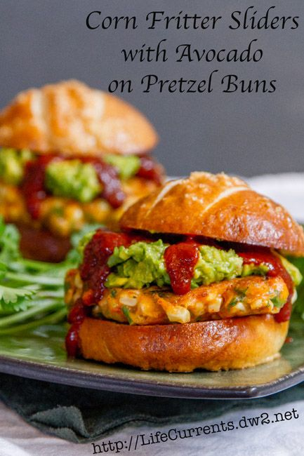Corn Fritter Sliders with Avocado and Enchilada Sauce on Pretzel Buns  |  Life Currents