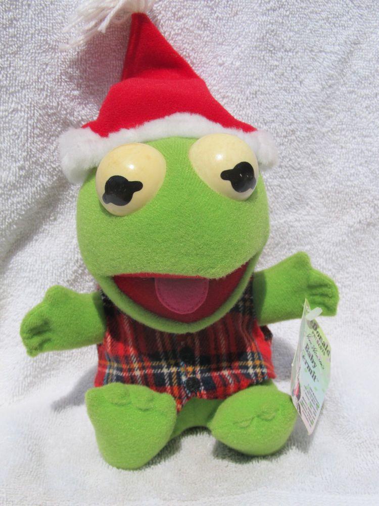 McDonalds 1988 Plush Baby Kermit The Frog Christmas Hat Henson ...