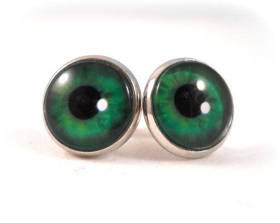Eyeball Earrings Green Eyes Jewelry Tween Quirky Cool Trendy Evil Eye By Foreverandrea On