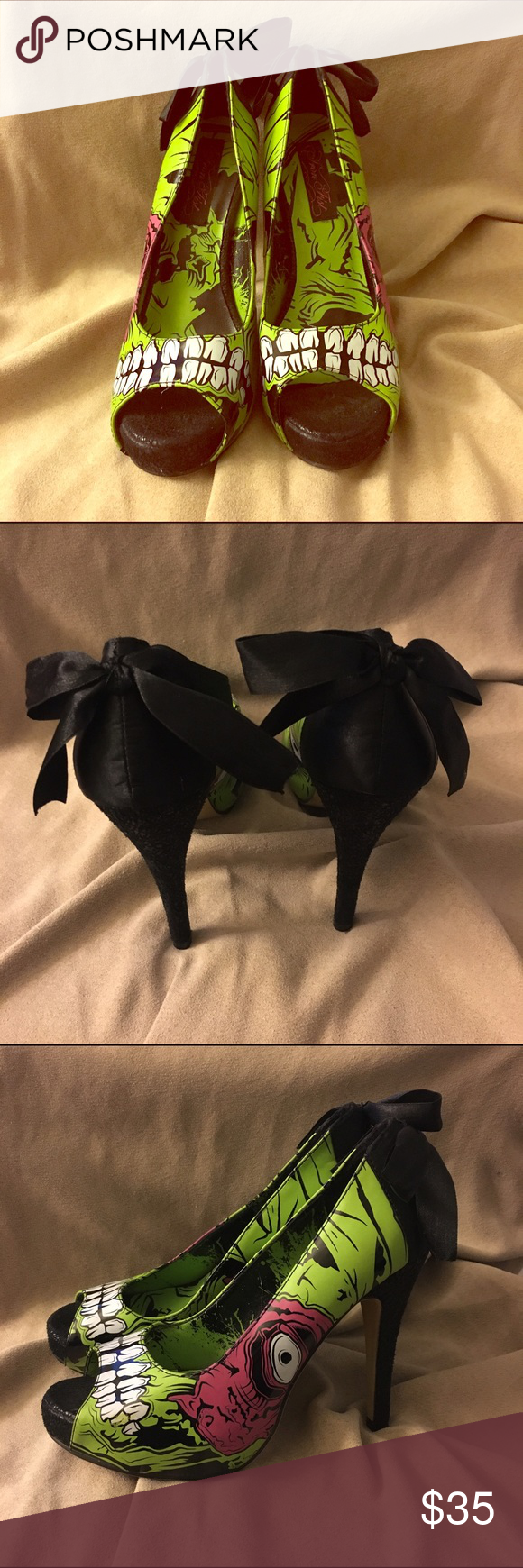 Iron Fist Zombie Stompers Heels Size 6 platform heels. Brand new. Only tried on in store. Faux suede heel and platform front. Image of zombie face on side of heel. Bow on back of heel. Iron Fist Shoes Heels