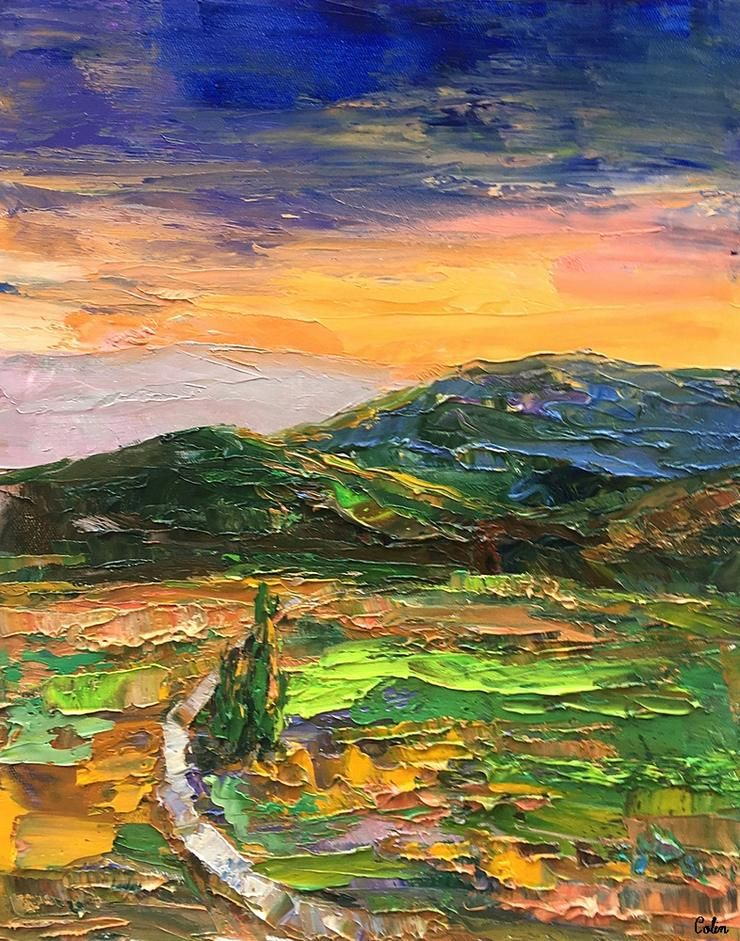 Abstract landscape painting mountain and cypress tree