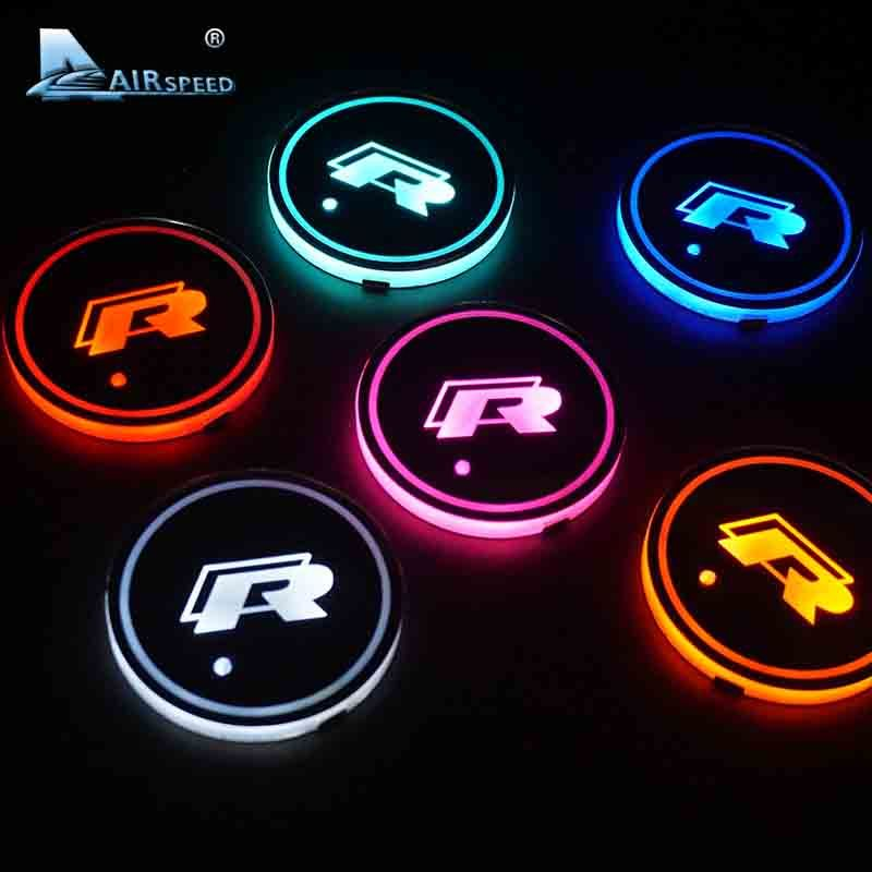 Airspeed 2 Pcs Lot Led R Cup Coaster For Volkswagen Vw Golf 6 Gti Scirocco Passat B6 Touran Tiguan Jetta Mk4 M Volkswagen Scirocco Volkswagen Volkswagen Polo