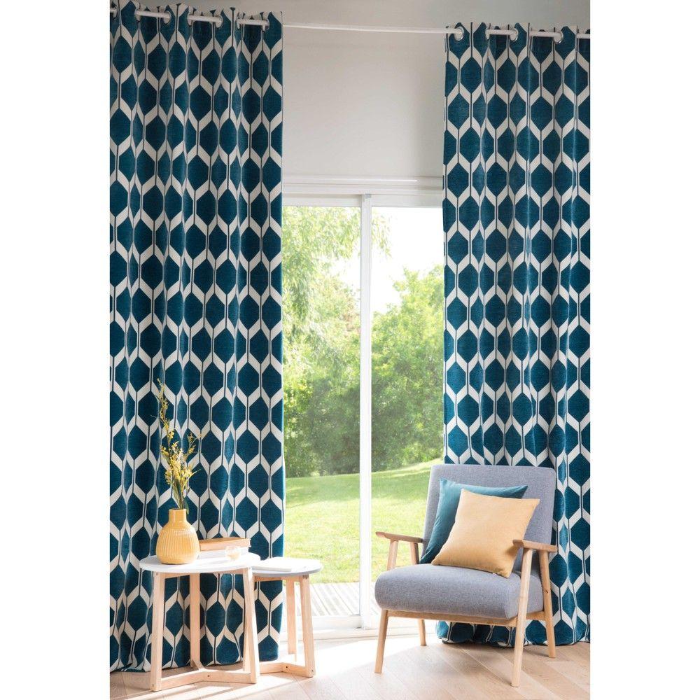 Rideau à Oeillets Bleu Canard à Lunité 140x300 Idée Deco Blue