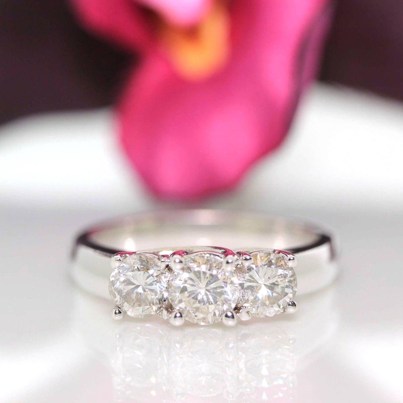 14k White gold Natural Diamond Trilogy Engagement 3 stone Ring band ...