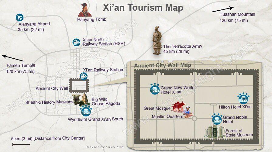 Xi An Tourism Map China China Tourism Map Xi An