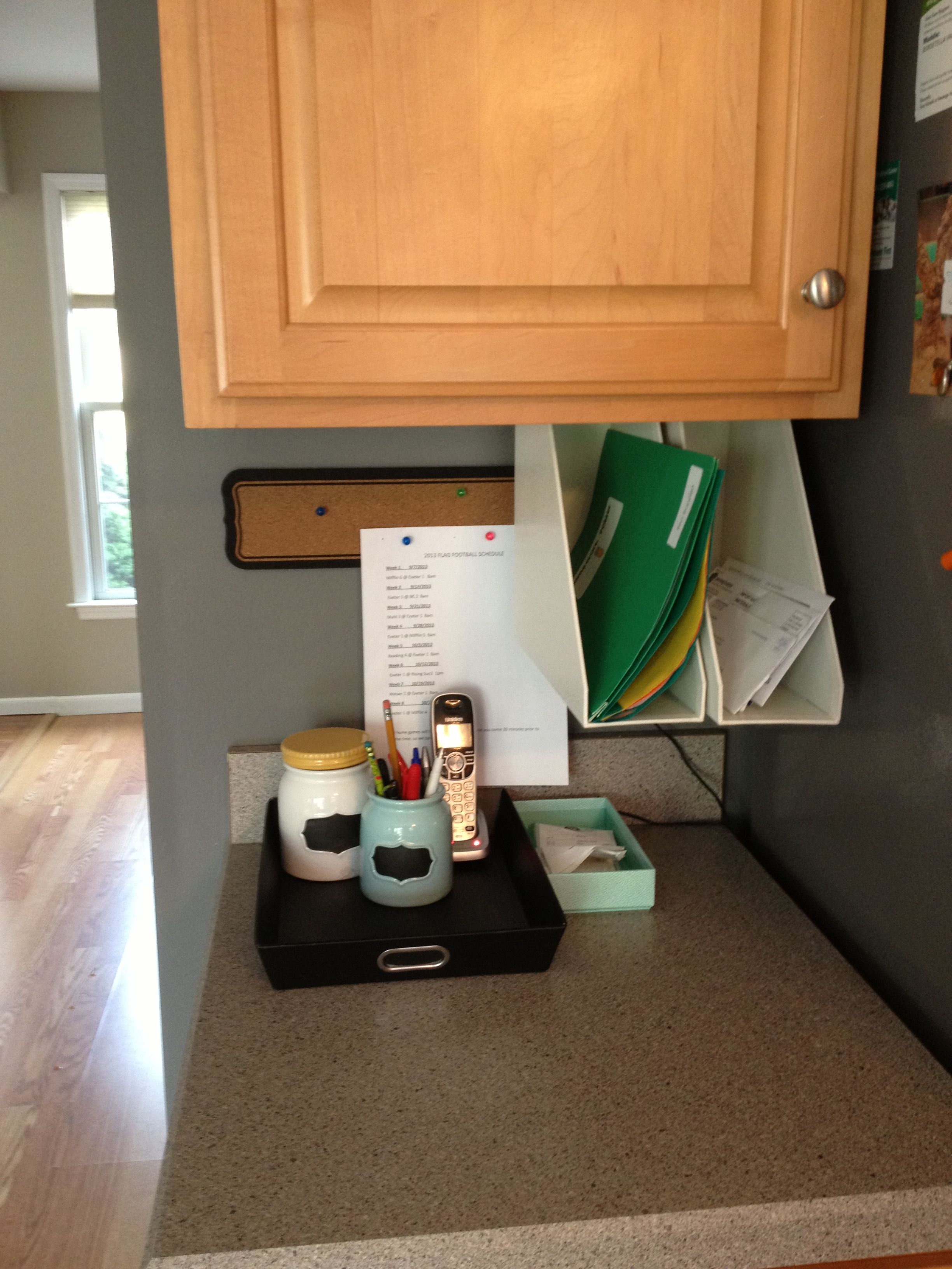 kitchen office organization. Mail Organization / Station In Kitchen. Love The Magazine Holders Attached To Bottom Of Cabinet Kitchen Office I