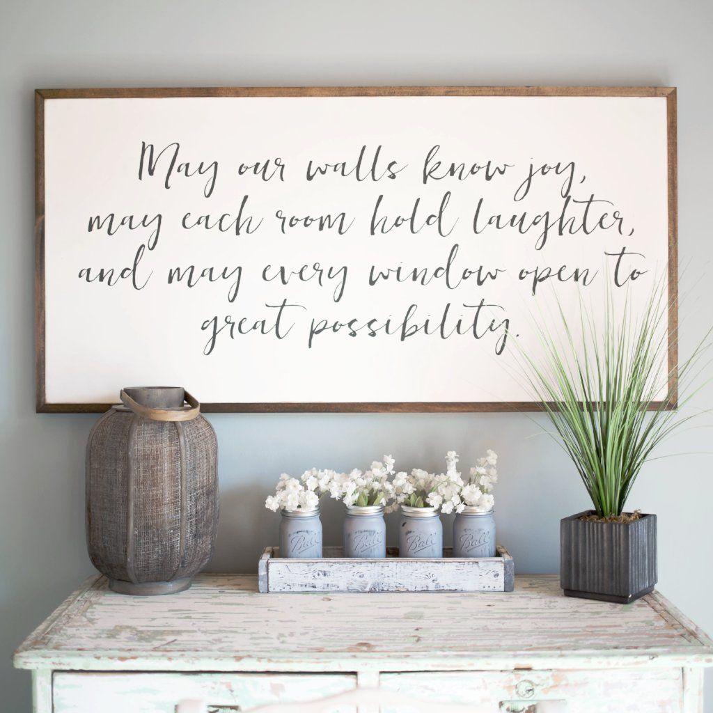 May Our Walls Know Joy wood sign Rustic decor Inspirational Farmhouse Style Farmhouse decor