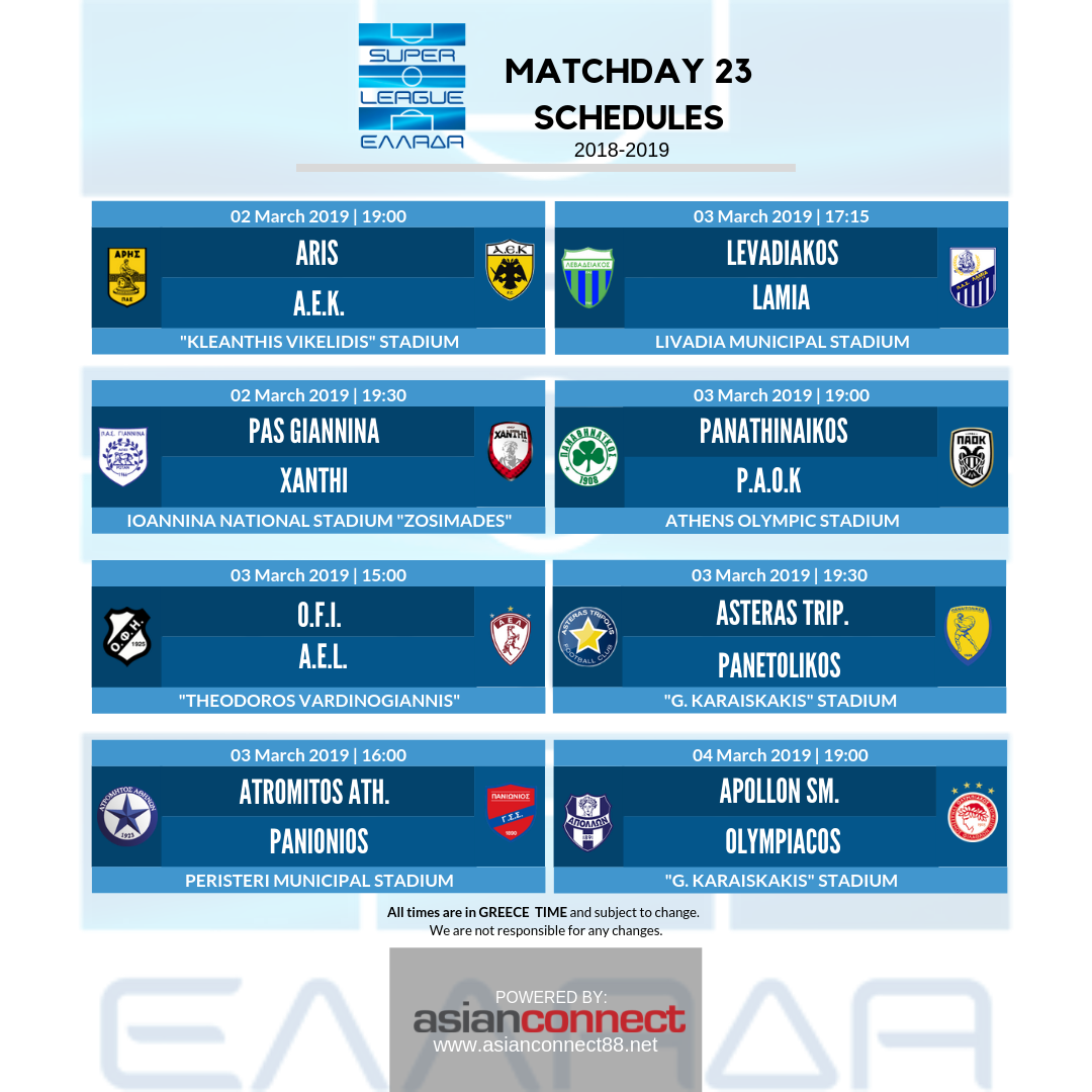 Here are the game schedules for Super League Greece ...