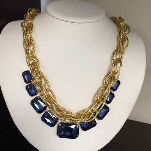 62265e405ca Costume jewelry Beautiful statement necklace!! Gold chain with blue ...