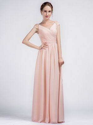 Amazing Long V-neck Chiffon Pink Bridesmaid Dresses with Lace Cap Sleeves 5f227bc56