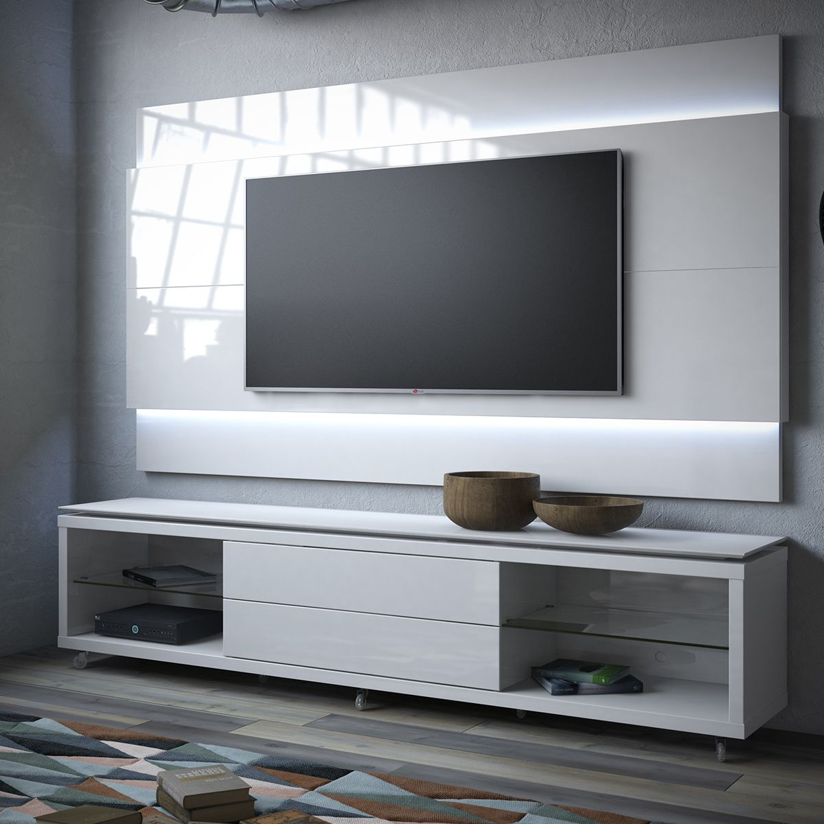 manhattan comfort lincoln tv stand w casters lincoln floating wall tv panel 1 9 w led in. Black Bedroom Furniture Sets. Home Design Ideas