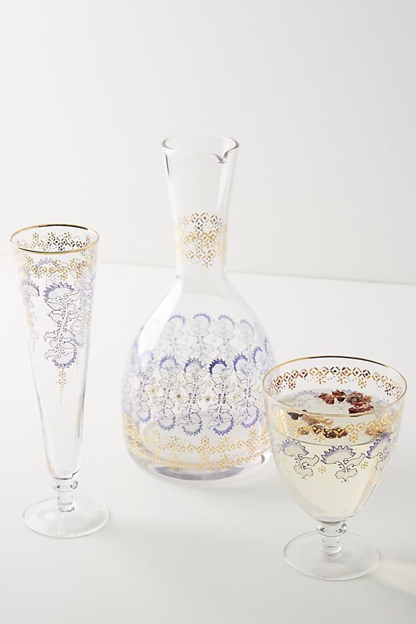 Rivka Wine Glasses Set Of 4 By Anthropologie In Blue Glassware