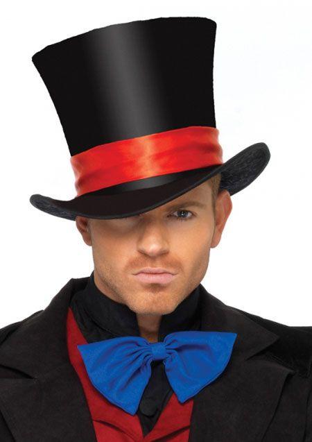 4af541c05f9 Costume Top Hat Velvet Black Red