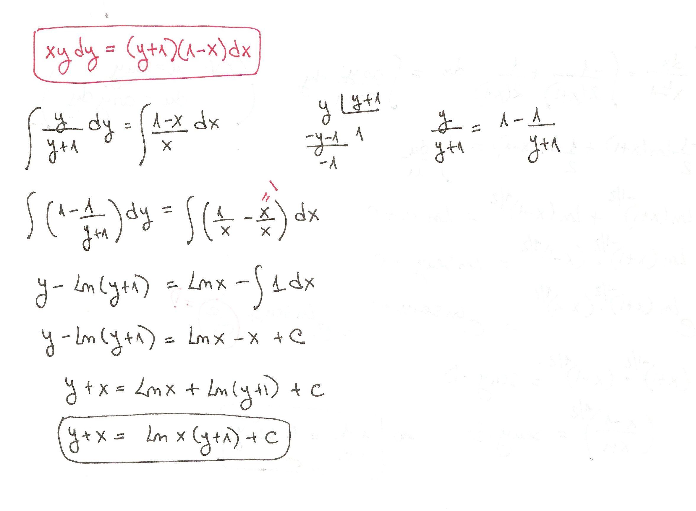 Solucion Del Ejercicio 20 Ecuaciones Diferenciales De Variables