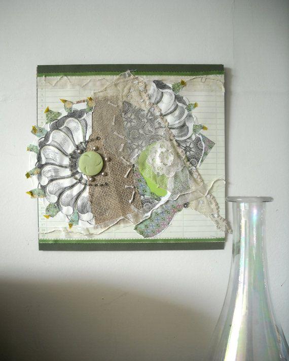 Hippy Decor Art Handmade Paper Collage by ThresholdPaperArt