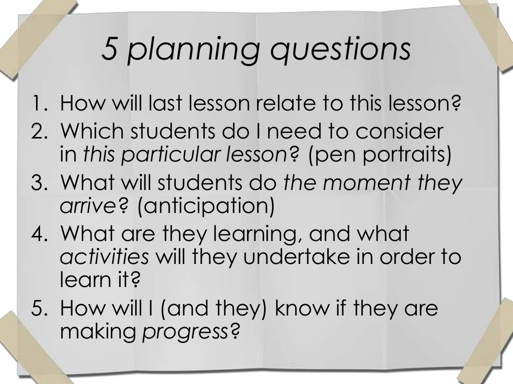 what questions guide you when planning a lesson for