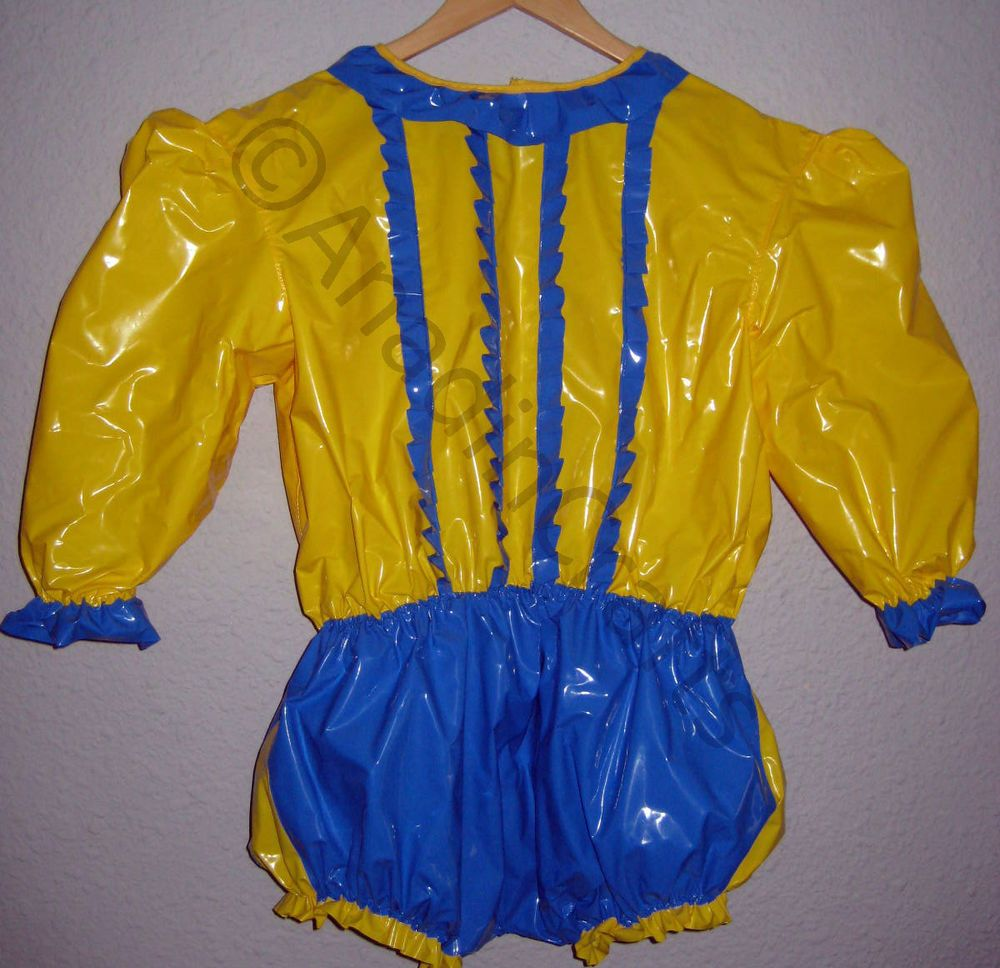 bf36dbe140e ADULT BABY PVC SISSY ROMPER SUIT YELLOW   BLUE XL 44 WAIST ADULT BABYGROW  ABDL