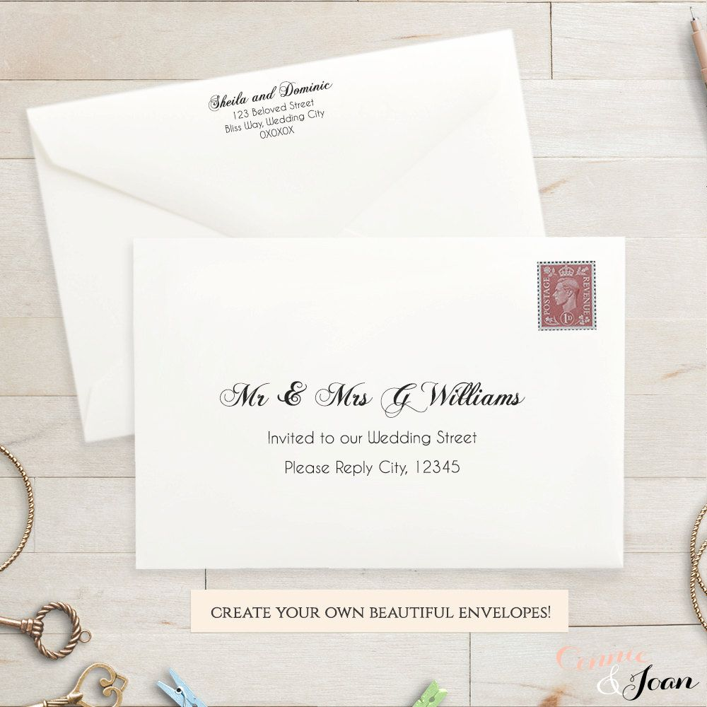 Custom Envelope Printing Template Catch The Eye Of The Receiver To Help Your Messag Wedding Invitation Envelopes Printable Wedding Envelopes Envelope Template
