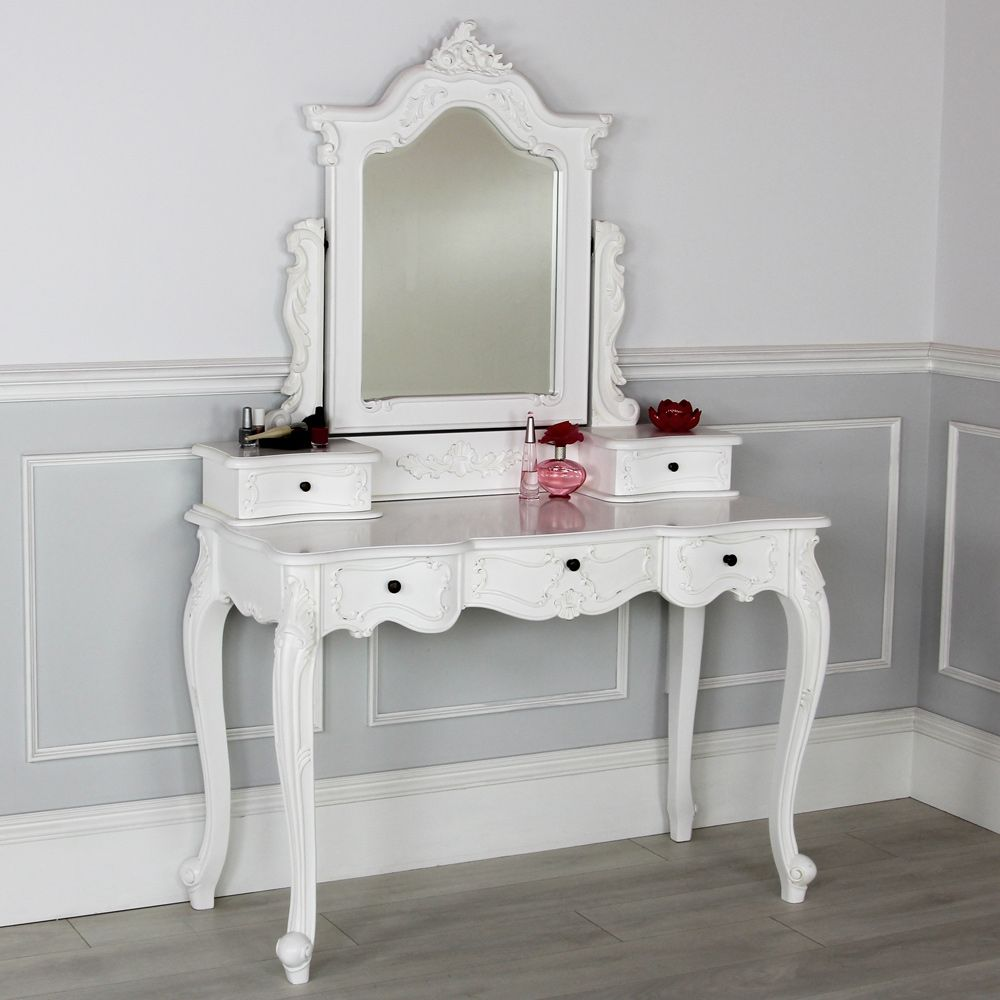 French Chateau White Dressing Table With Mirror Meja