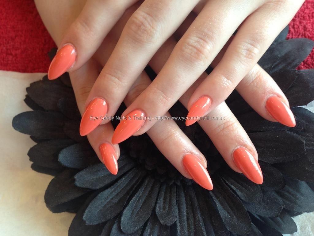 Acrylic nails with new orange gelish gel polish Acrylic nails with ...