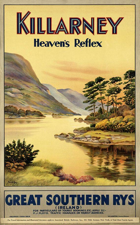Vintage Killarney Irish Railway Poster A3//A4 Print