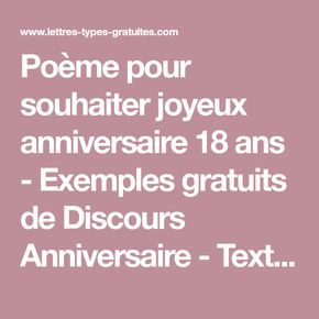 Poème Pour Souhaiter Joyeux Anniversaire 18 Ans Exemples Gratuits