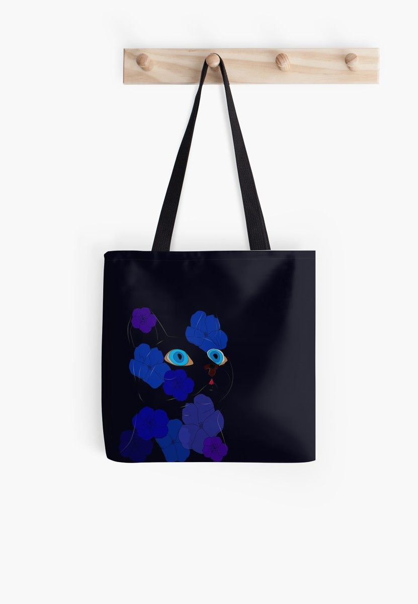 Blue Cat In The Flowers Tote Bag Blue Cats Bags Tote Bag