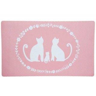 Türmatte Fußmatte rosa Katzen weiß 74 x 44 cm Clayre &...