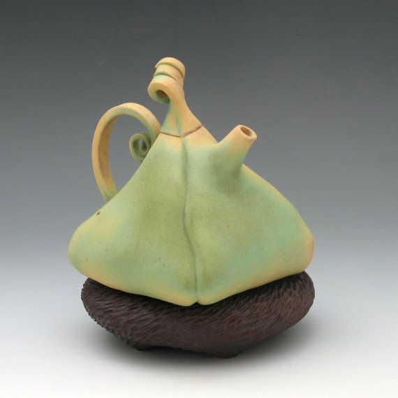 Puffy porcelain teapot in green & gold with brown by robertapolfus