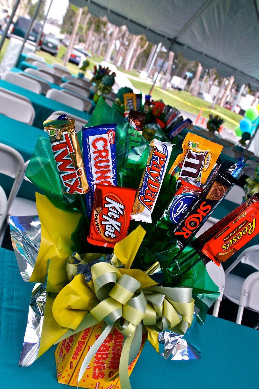 Chocolate Bars Candy Bouquet Centerpiece, Candy Buffet Decor, Candy ...