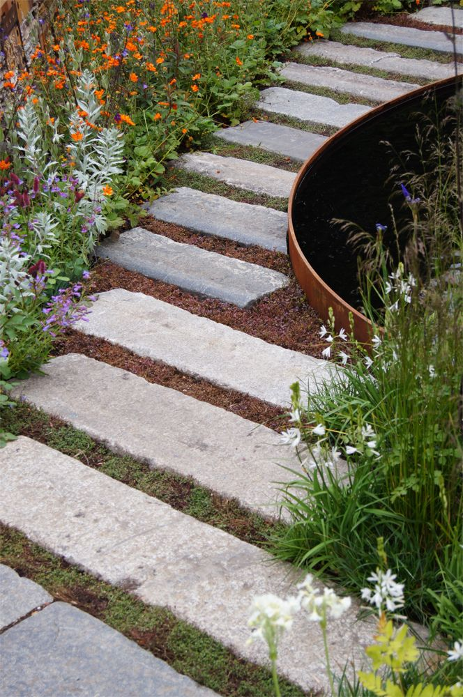 a winding path using long slabs  or railway sleepers