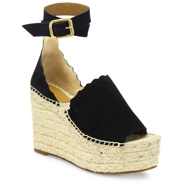 710e7e496a8 Chloe Lauren Suede Ankle-Strap Espadrille Wedge Sandals ( 660) ❤ liked on  Polyvore