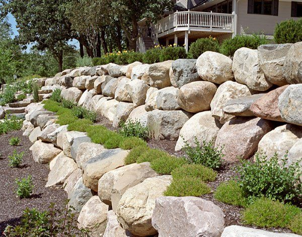 Boulder Retaining Wall Boulder Wall Design Boulder Images Inc Boulder Retaining Wall Backyard Landscaping Landscaping With Boulders