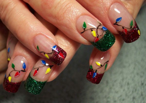 Christmas Light Nails... Oh my.
