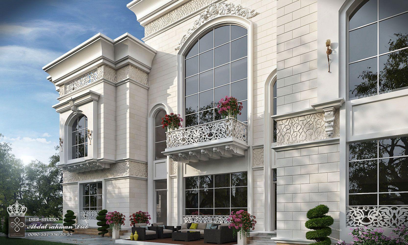 Classic villa with white stone uae • diebstudio classic house exterior classic house design