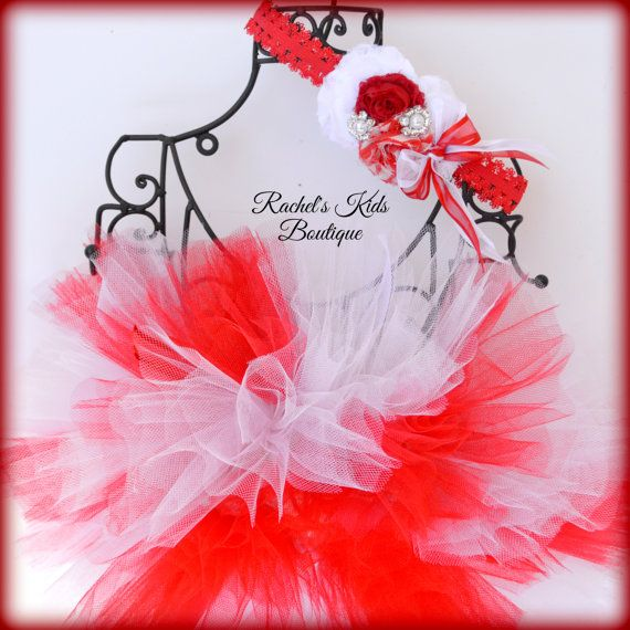 Candy Cane Tutu With Matching Headband by RachelsKidsBoutique