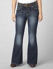 These dark wash flare leg jeans lend a polished look to even your most casual styles. Cropped chop pockets in front have a layered look and bold accent stitching. Back flap pockets also feature accent stitching and embroidery. Flare leg actually lengthens the look of your legs for a sleeker silhouette. Brown studded belt completes your look. fashionbug.com