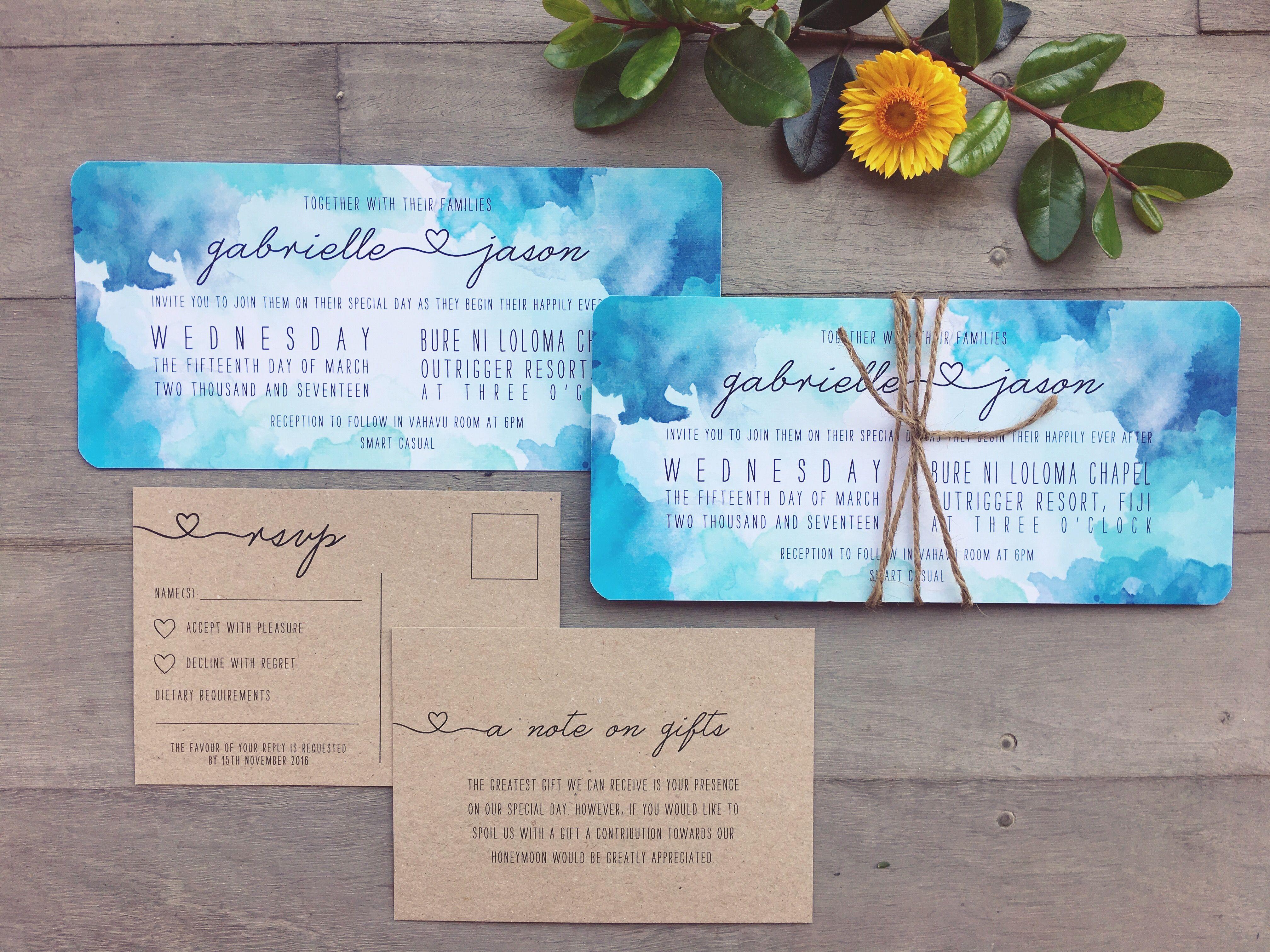 Blue Watercolour Watercolor Beach Wedding Invitation Card Tropical Fiji Ocean Water 21st Birthday Invitations Watercolor Wedding Invitation Suite Paper Hearts