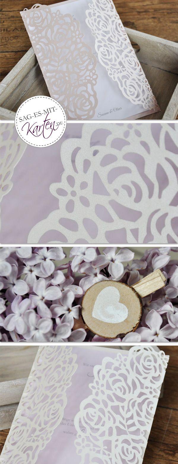 hochzeitseinladung lasercut rose creme | einladungskarte