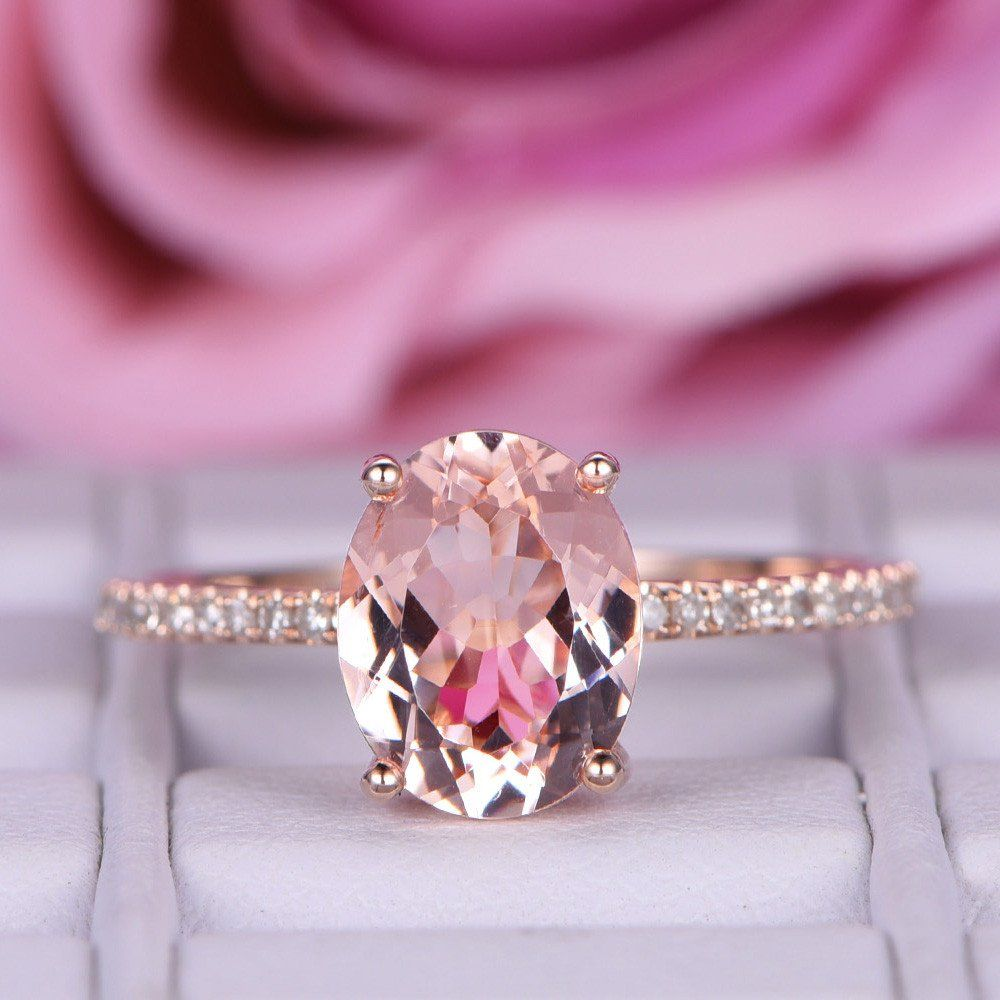 Oval Morganite Engagement Ring Pave Diamond Wedding 14K Rose Gold ...